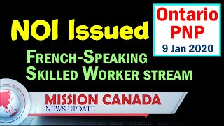 Ontario PNP Issued NOI | January 9 | OINP 2020