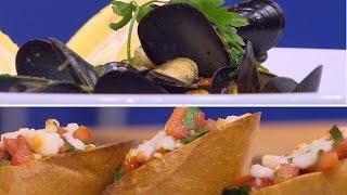 بلح البحر بالكسبرة والليمون - خبز بالجبن الموتزريلا | شبكة و صنارة حلقة كاملة