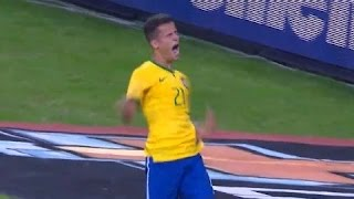 Philippe Coutinho with his first amazing goal for Brazil national team
