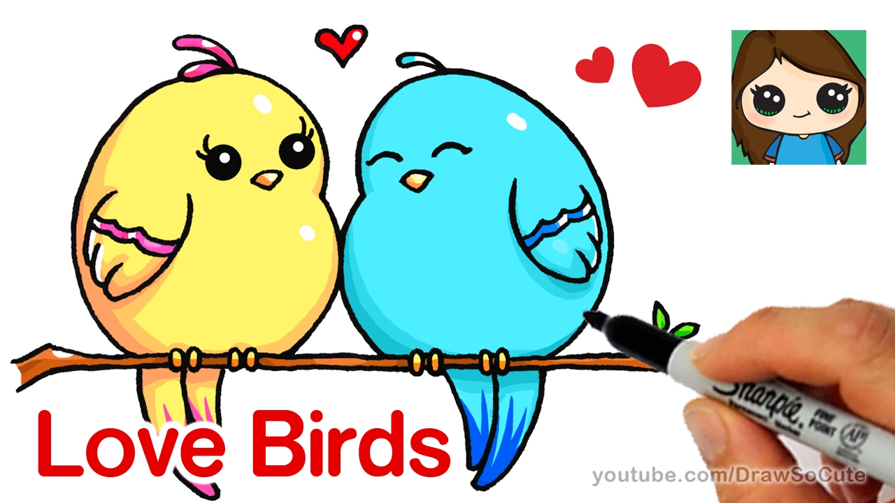 How To Draw Cartoon Love Birds Easy Youtube