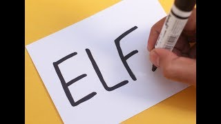 How to turn word ELF into a Cartoon Christmas ELF ! Learn drawing art on paper for kids