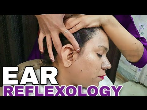 ASMR👂 Ear Reflexology | Relaxing Ear massage by female barber | WATCH FOR DEEP SLEEP🎅❤💆♂️