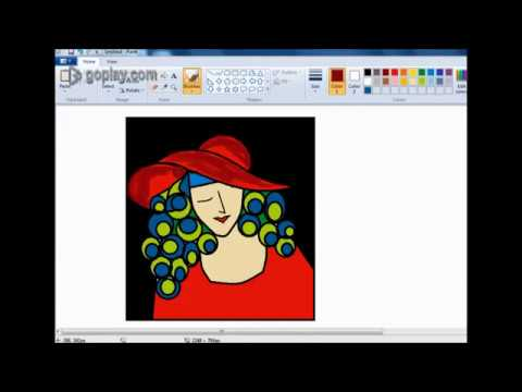 Modern Art Painting cute Lady with hat in ms paint