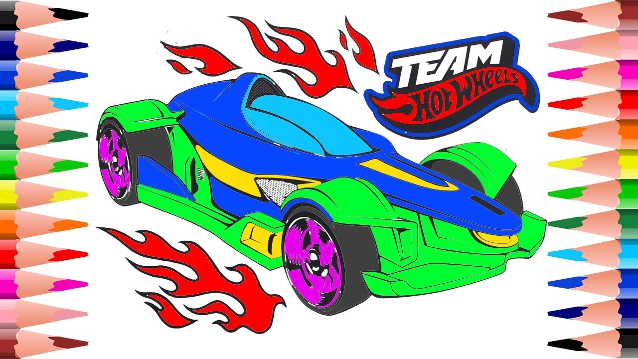 Coloring Cars Team Hot Wheels Coloring Pages for Kids - Painting ...