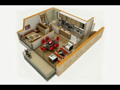 Planos de casas en 3d de una planta con medidas youtube for Croquis de casas