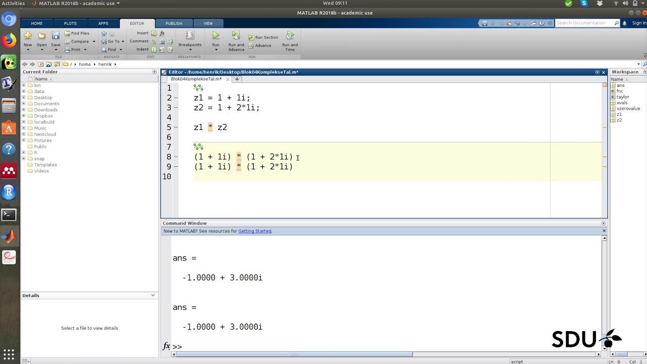 Komplekse tal - matlab eksempler