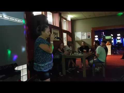 Tash doing a phenomenal job at the Elanora Hotel's Karaoke Night