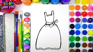 Coloring Page of Beautiful Dress for Kids to Learn to Color 💜