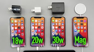 iPhone 12 Charge Test: 18w vs 20w vs 30w vs Magsafe Charger!