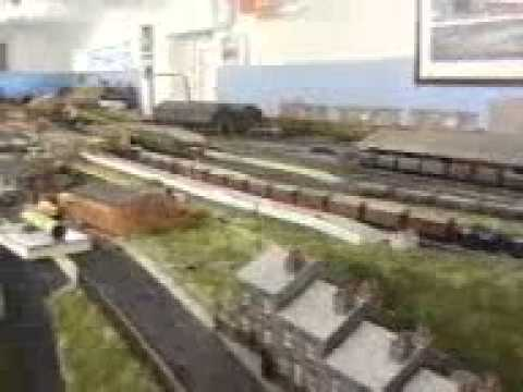 OO Model Railway train set layout in very large garden shed in Widnes