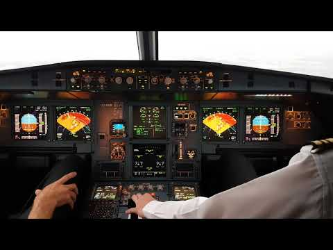 Airbus a319 Cockpit thunderstorm landing at Brussels Airport 25R