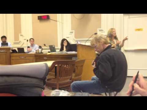 Michael Masley on kalimba at Berkeley council meeting