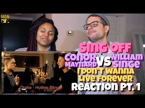 Conor Maynard VS William Singe (Sing Off) - I Don't Wanna Live Forever Reaction Pt.1