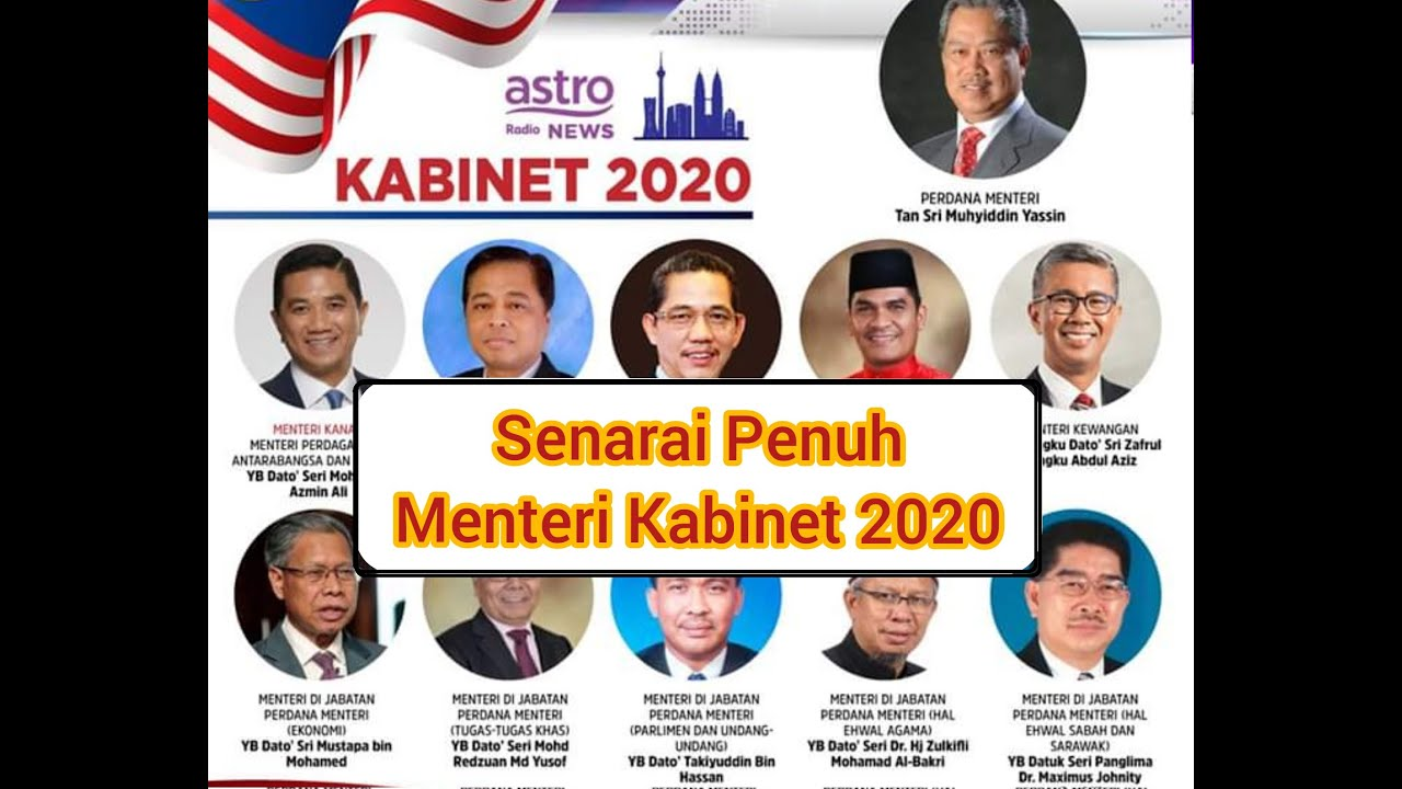 Senarai Penuh Menteri Kabinet 2020 Diumumkan Oleh Pm Ke 8 Youtube