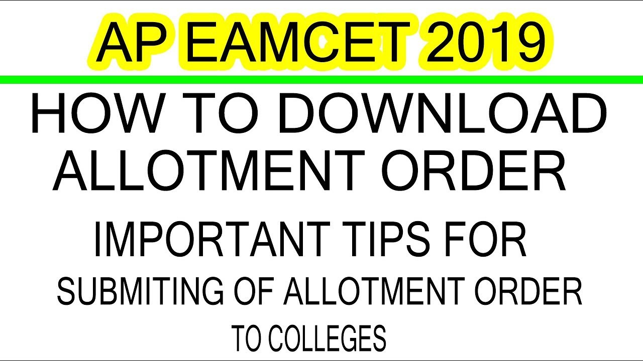 AP EAMCET HOW TO DOWNLOAD ALLOTMENT ORDER AND IMP TIPS FOR SUBMITING OF  ALLOTMENT ORDER TO COLLEGES