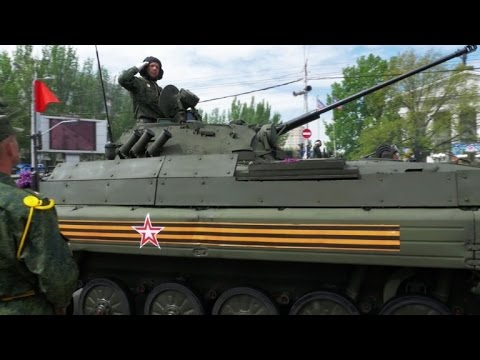 Ukraine rebels parade banned weapons on Victory Day