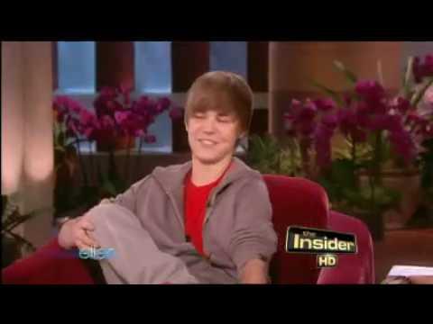 Justin Bieber on Ellen....Miley Cyrus, hair flip