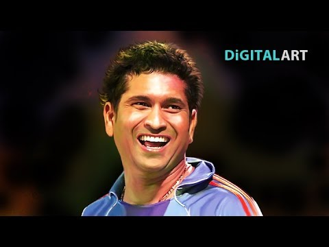 Digital Painting or Digital Art using smudge technique # Sachin Tendulkar