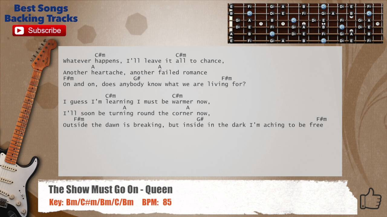The Show Must Go On Queen Guitar Backing Track With Chords And
