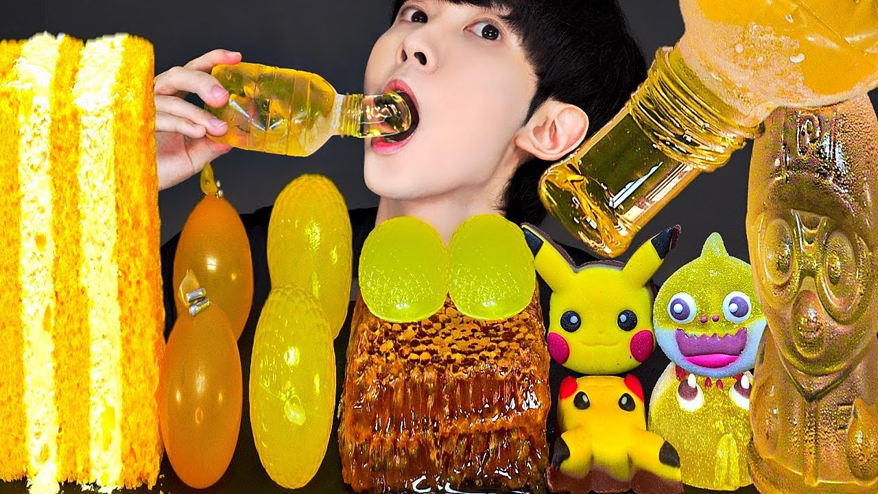 ASMR ICE CREAM HONEY JELLY RECIPE PARTY 직접 만든 노란색 꿀젤리 아이스크림 먹방 DESSERTS CANDY MUKBANG EATING SOUNDS
