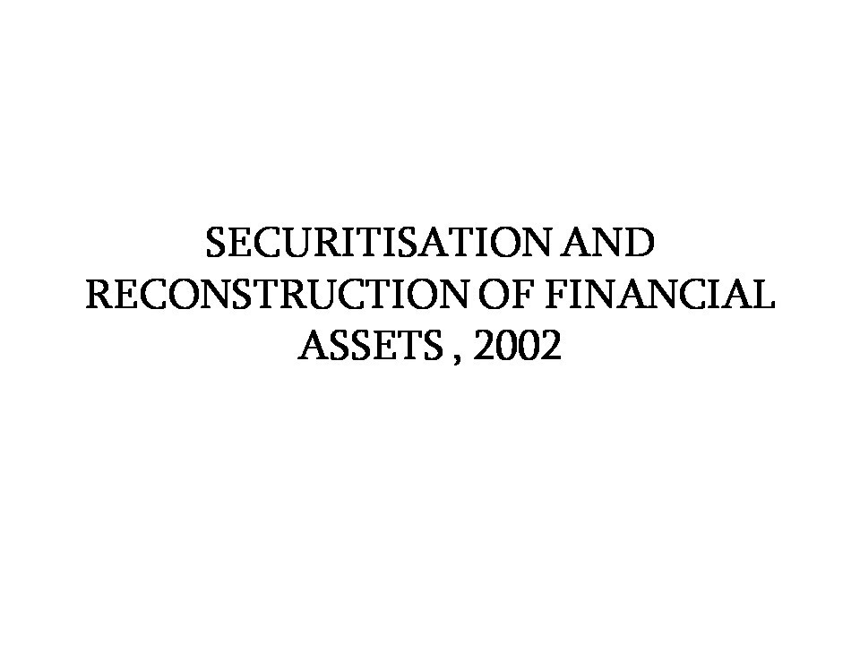 the securitization and reconstruction of financial