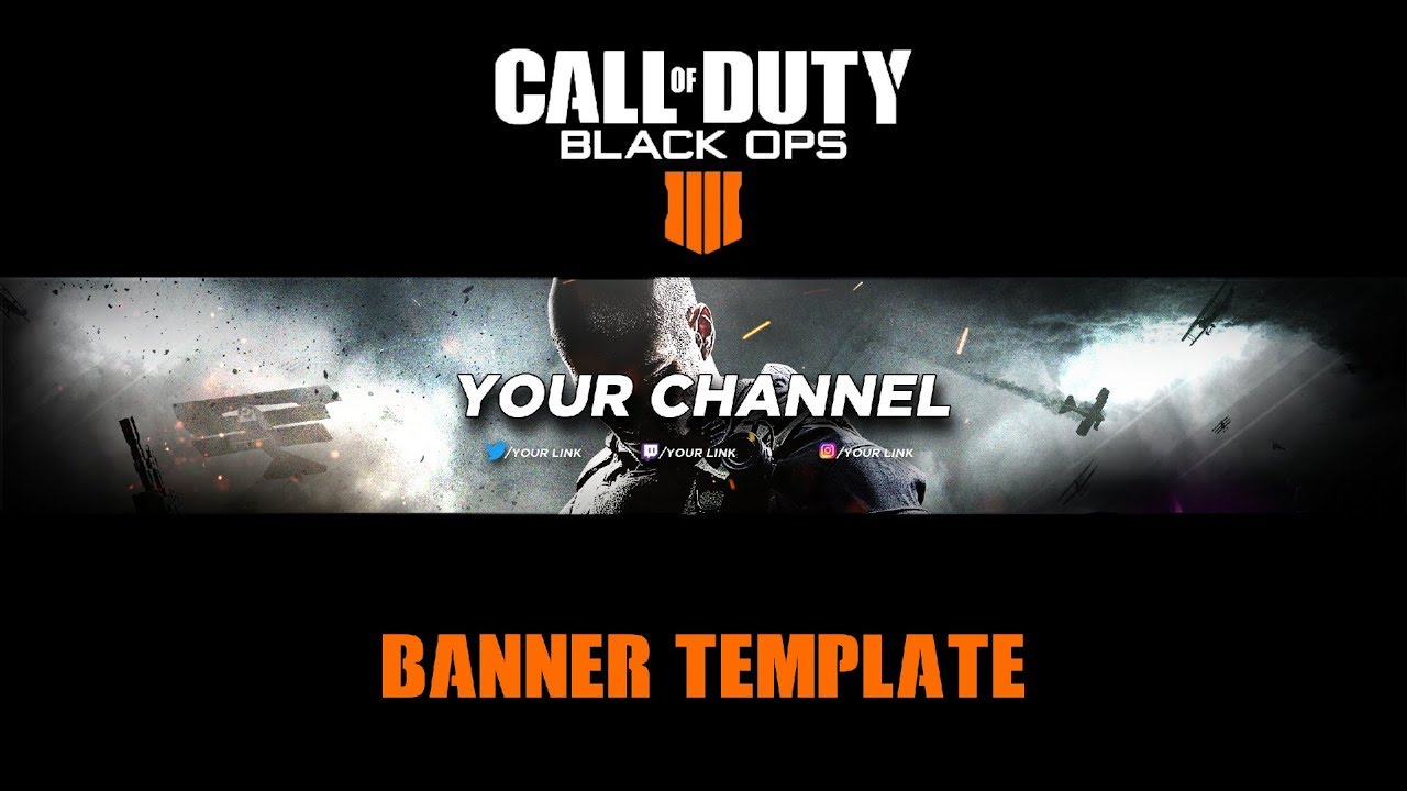 Call Of Duty : Black Ops 4 YouTube Banner Template 2018