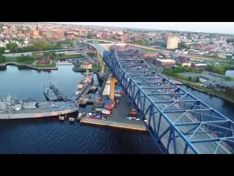 Drone flight over Fall River, MA waterfront