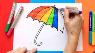 Learning Colors of the Rainbow. Draw a Colorful Umbrella.