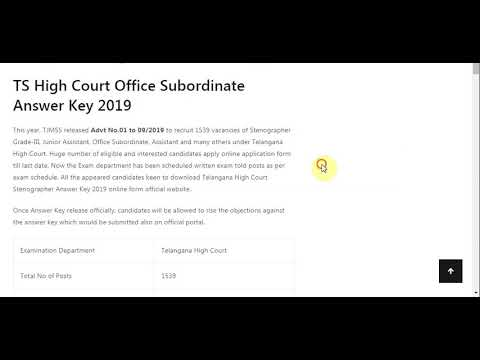 TS High Court Office Subordinate Answer Key 2019 Steno, Junior Assistant...