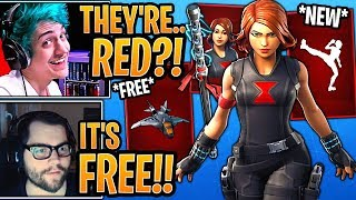 Streamers React to *FREE* Marvel's Avengers Quinjet and *NEW* Marvel's Black Widow Set! - Fortnite
