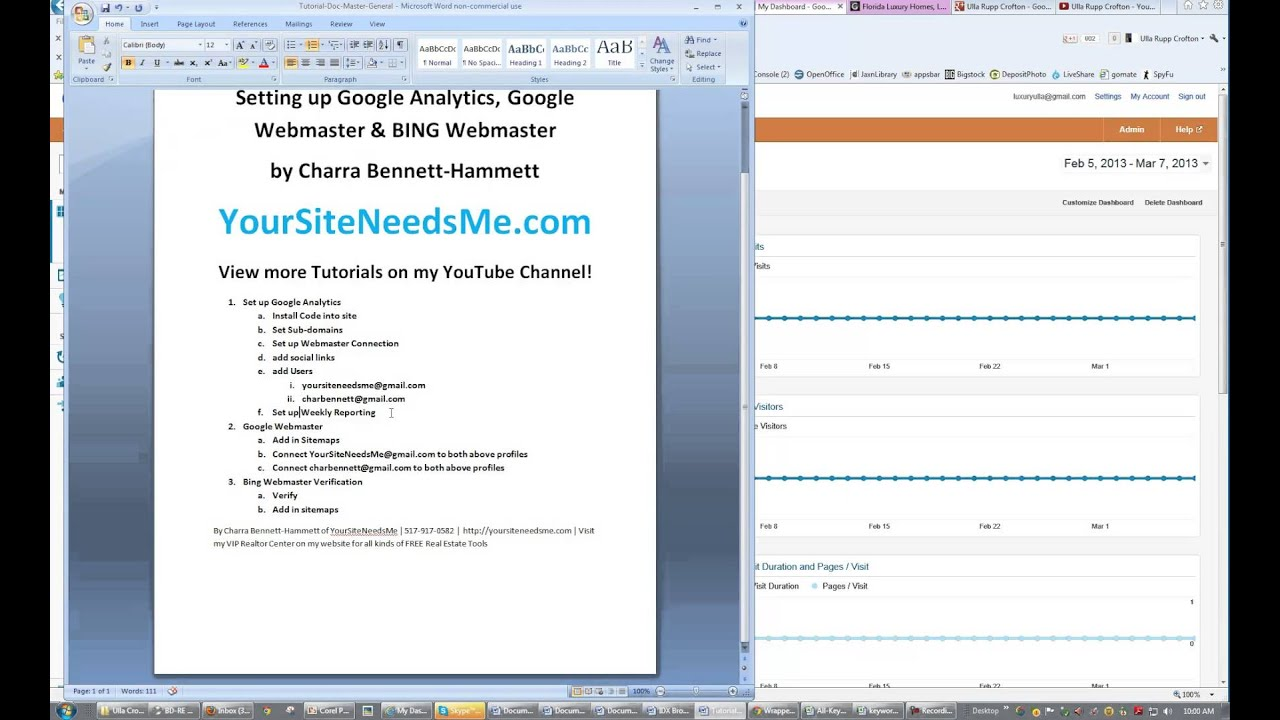 setting up google analytics google webmaster bing webmaster youtube