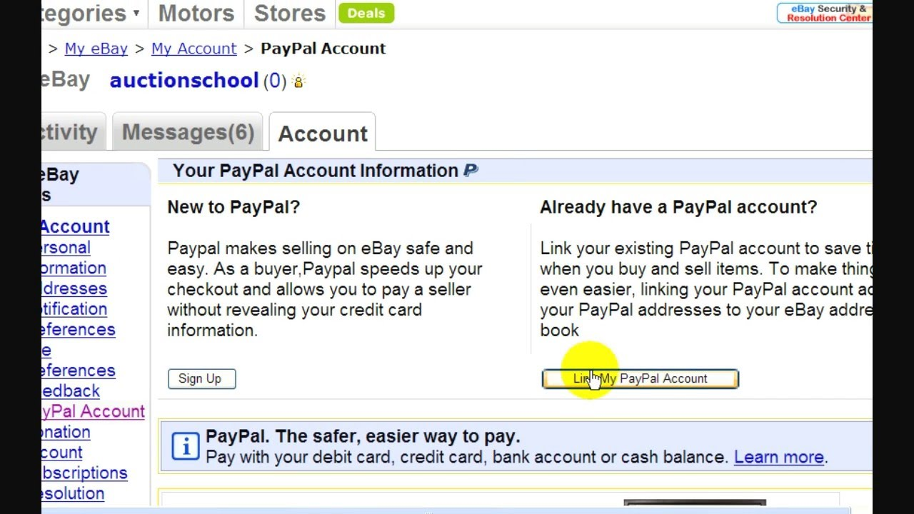 how to link paypal to ebay account youtube