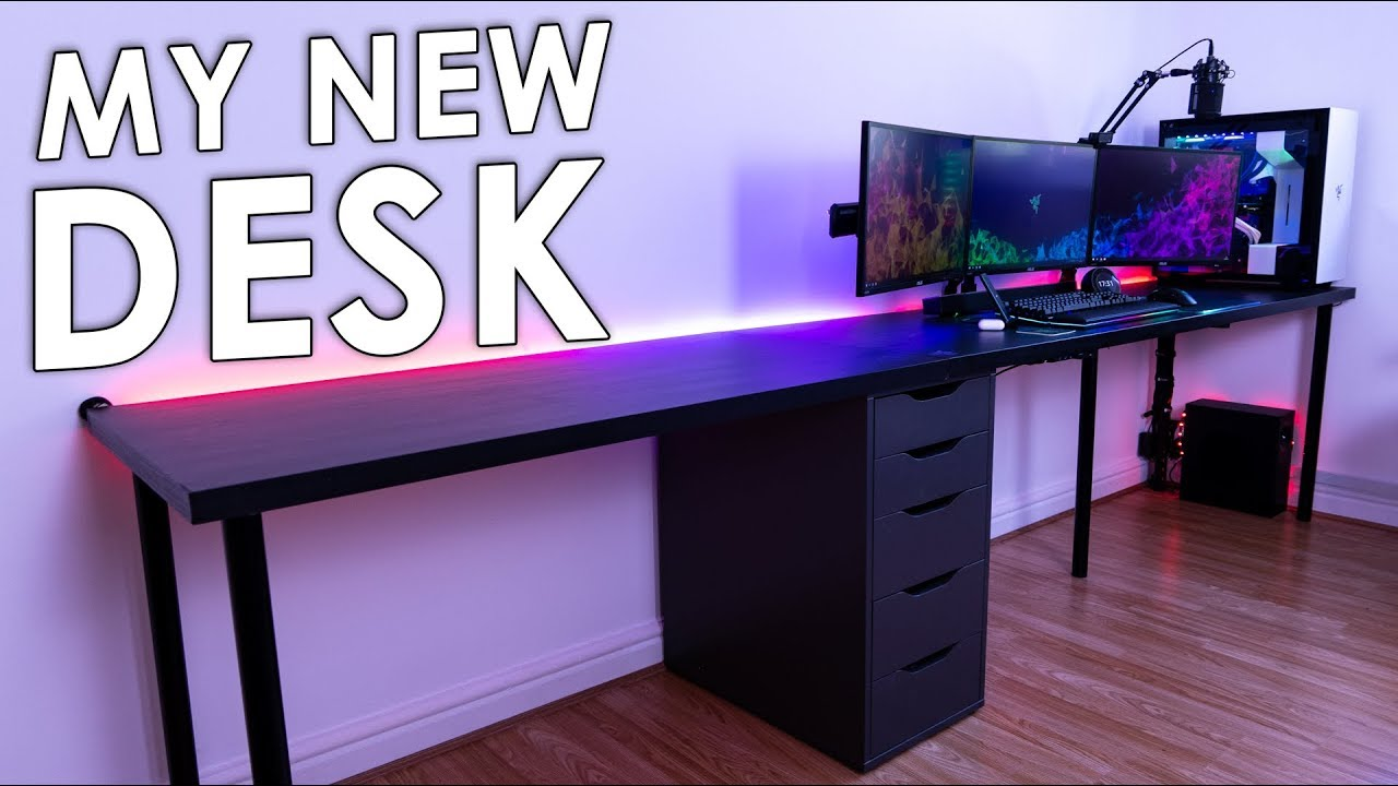 My New Gaming Setup Desk Ikea Linnmon Youtube