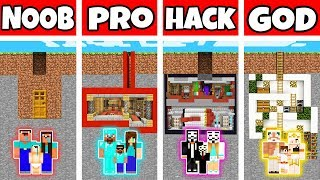 Minecraft: FAMILY UNDERGROUND BASE HOUSE BUILD CHALLENGE - NOOB vs PRO vs HACKER vs GOD in Minecraft