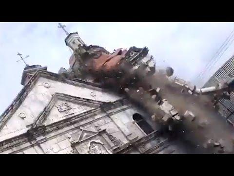 #EARTHQUAKE Sto Nino Church Belfry Actual Collapse FOOTAGE