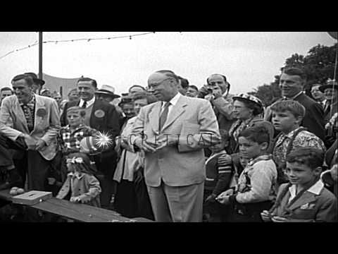 Robert Alphonso Taft campaigning for Republican Presidential nomination with a hu...HD Stock Footage