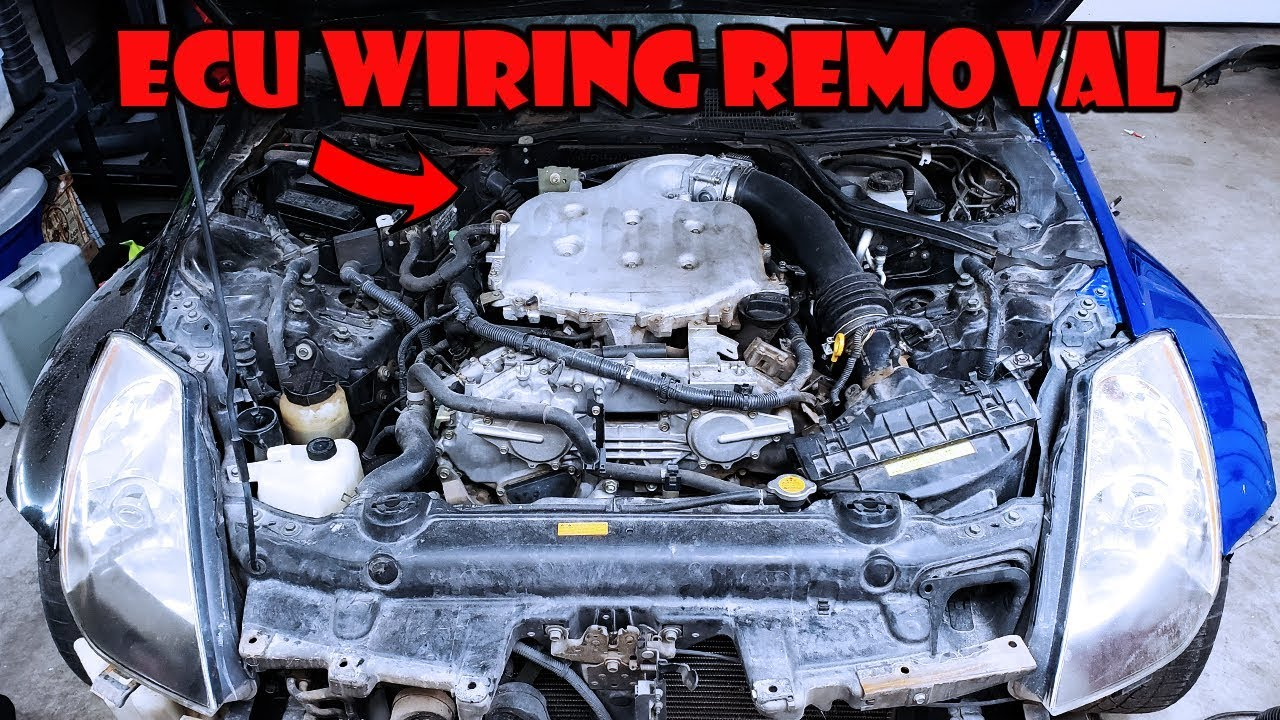 350z ecu location and wiring harness removal youtube 350z engine wiring harness [ 1280 x 720 Pixel ]