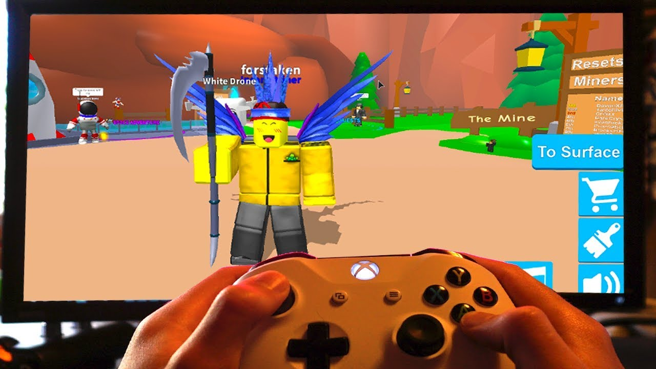 Playing Roblox Mining Simulator On Xbox Youtube