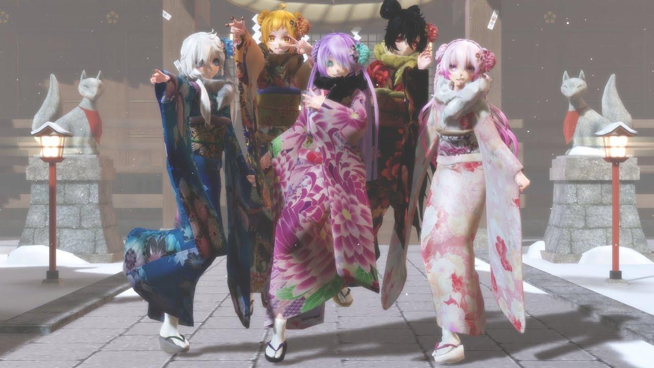 [MMD] TDA Winter Kimono Girls - Bad apple (Band Edition)