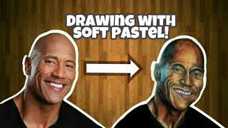 Drawing wwe superstar #ROCK(dwayne johnson) by SOFT PASTELS