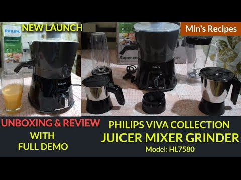 PHILIPS JUICER MIXER GRINDER HL7580 UNBOXING AND REVIEW IN HINDI   PHILIPS VIVA COLLECTION WITH DEMO
