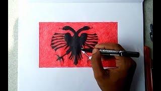 Albanian national flag drawing