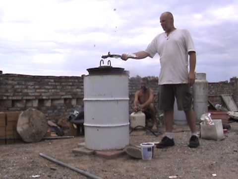 DIY how to build a homemade blast furnace, firing it up