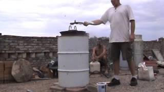 DIY how to build a homemade blast furnace, firing it up