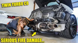 Assessing the DAMAGE on my Twin Turbo C8 Corvette that Caught Fire... worse than we thought...