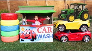 Sofia plays with Car Wash and Ride On Сhildren's Сar