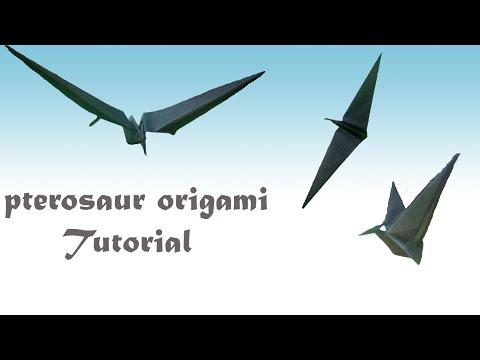 Simple Pterosaur - flying dinosaur - origami - tutorial