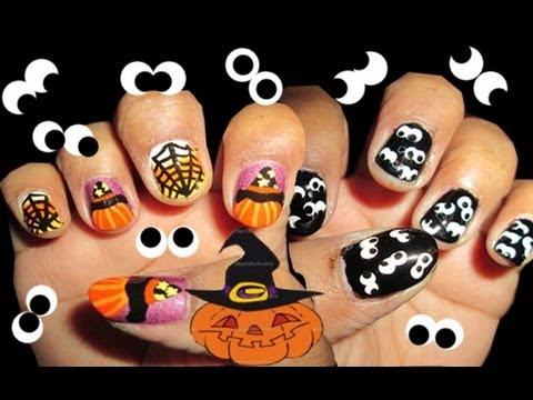 Halloween: pumpkin, witch, spider and googly eyes nail art ...