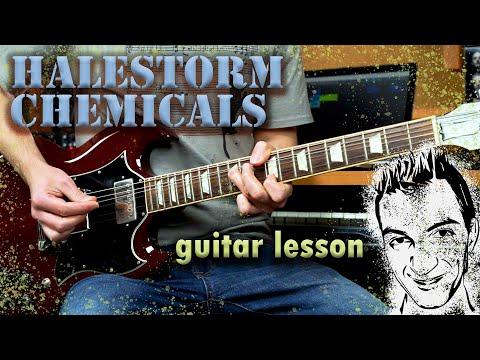 Halestorm - Chemicals guitar lesson (lead and rhythm guitars)