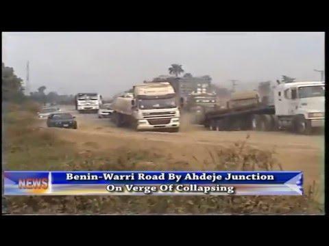 Benin-Warri road by Ahdeje junction on verge of collapsing